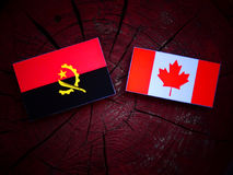 Angolan flag with Canadian flag on a tree stump isolated. Angolan flag with Canadian flag on a tree stump Royalty Free Stock Photography