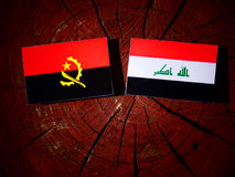 Angolan flag with Iraqi flag on a tree stump isolated. Angolan flag with Iraqi flag on a tree stump Stock Images