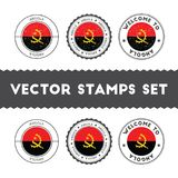 Angolan flag rubber stamps set. Stock Photo