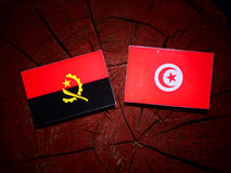 Angolan flag with Tunisian flag on a tree stump isolated. Angolan flag with Tunisian flag on a tree stump Stock Photography