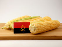 Angolan flag on a wooden panel with corn isolated on a white bac. Kground Royalty Free Stock Photo