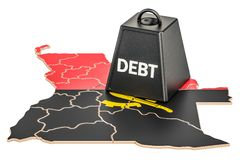 Angolan national debt or budget deficit, financial crisis concep. T, 3D Stock Photography