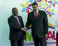 Angolan vice president, Manuel Domingos Vicente and Venezuelan President Nicolas Maduro. Porlamar, Venezuela. September 17th, 2016: Angolan vice president stock images