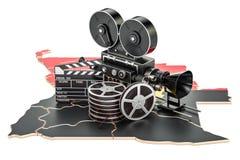 Angolese cinematografie, het concept van de filmindustrie het 3d teruggeven Royalty-vrije Stock Foto