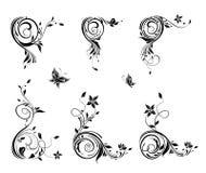 Angoli floreali d'annata Fotografie Stock Libere da Diritti