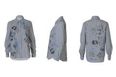 Angoli grigi femminili della camicia tre fotografia stock libera da diritti