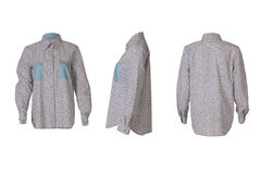 Angoli grigi femminili della camicia tre fotografie stock libere da diritti