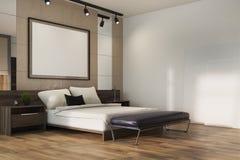 Angolo beige della camera da letto del sottotetto, manifesto Fotografia Stock