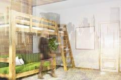 Angolo bianco della camera da letto, letto verde del sottotetto, manifesto tonificato Fotografie Stock Libere da Diritti