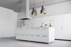 Angolo bianco moderno della cucina Fotografie Stock Libere da Diritti