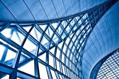 Angolo blu astratto della parete Fotografia Stock