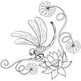 Angolo del blocco per grafici del fiore di loto con la libellula royalty illustrazione gratis