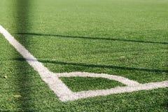 Angolo del campo di football americano di calcio Erba artificiale Immagini Stock