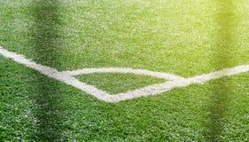 Angolo del campo di football americano di calcio Erba artificiale Fotografia Stock Libera da Diritti