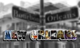 Angolo del collage della via di Bourbon Fotografie Stock Libere da Diritti