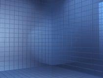 Angolo del cubo blu Fotografie Stock Libere da Diritti