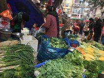 Angolo del mercato di verdure Fotografia Stock