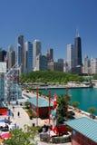 Angolo del pilastro del blu marino del Chicago ad ora legale Fotografie Stock Libere da Diritti