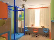 Angolo della camera da letto del `s del bambino con mobilia variopinta illustrazione vettoriale