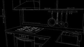 Angolo della cucina con il lavandino, scaffale del vaso della parete, cappuccio del camino, fresa del gas Illustra in bianco e ne Fotografia Stock
