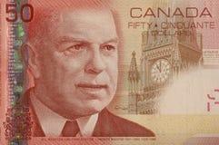 Angolo della fattura del dollaro del canadese 50 Fotografia Stock Libera da Diritti