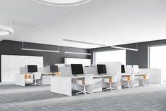 Angolo di ufficio bianco dello spazio aperto Immagini Stock Libere da Diritti