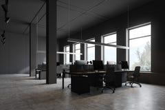 Angolo di ufficio grigio dello spazio aperto illustrazione di stock