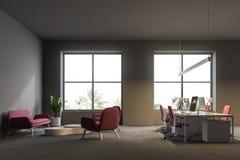 Angolo di ufficio open space grigio, area del sofà illustrazione di stock