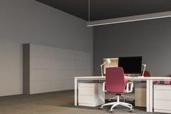 Angolo di ufficio open space grigio, armadi illustrazione vettoriale