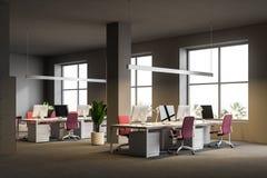 Angolo di ufficio open space grigio, centro di affari illustrazione di stock