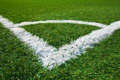 Angolo di un campo di calcio Fotografia Stock