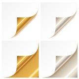 Angolo dorato e d'argento arricciato della pagina Immagini Stock Libere da Diritti