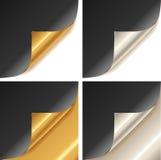 Angolo dorato e d'argento arricciato della pagina Immagine Stock