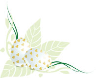 Angolo floreale delle uova di Pasqua Immagini Stock