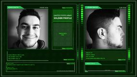 Angolo futuristico del perno dell'angolo dell'interfaccia di profilo del soldato dell'esercito di Digital archivi video