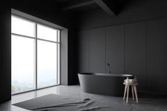 Angolo grigio del bagno del sottotetto con la vasca illustrazione vettoriale