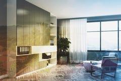Angolo grigio del salone, lato bianco delle poltrone Immagini Stock