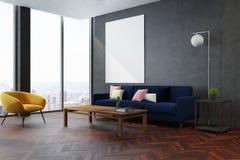 Angolo grigio del salone, poltrona gialla Fotografia Stock Libera da Diritti