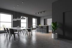 Angolo grigio della cucina con la barra e la tavola illustrazione di stock