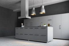 Angolo grigio moderno della cucina Fotografie Stock