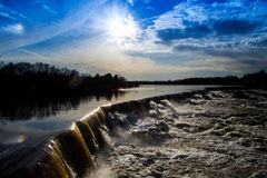 Angolo laterale di Lowell Waterfall fotografia stock