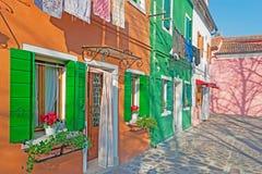Angolo pittoresco di Burano Fotografie Stock