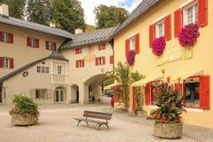 Angolo pittoresco nella vecchia città Berchtesgaden germany Fotografie Stock Libere da Diritti