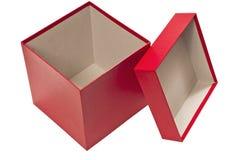 Angolo sparato di grande scatola rossa con il coperchio Fotografie Stock Libere da Diritti