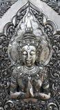 Angolo tailandese impresso sul piatto d'argento in tempio, Tailandia Immagini Stock
