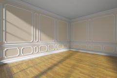 Angolo vuoto beige della stanza con il modanatura e parquet grandangolare Fotografie Stock