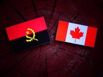 Angolska flaga z kanadyjczyk flaga na drzewnym fiszorku odizolowywającym fotografia royalty free