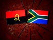 Angolska flaga z południe - afrykanin flaga na drzewnym fiszorku odizolowywającym Fotografia Stock