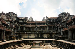Angor Castle inside. With the blue Sky, Cambodia Stock Image