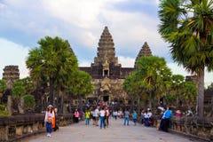 Angor Wat, arquitetura antiga em Camboja imagens de stock royalty free